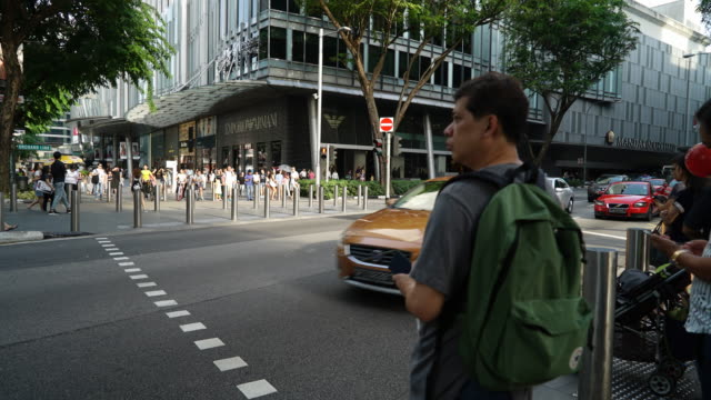 Timelapse crowded people at orchard singapore