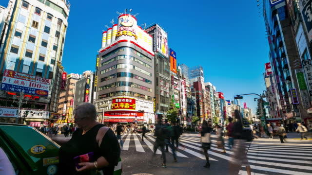 Timelapse drukke mensen in shinjuku district