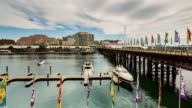Timelapse Darling Harbour with people and boats, Sydney in 4K