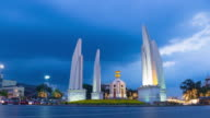 4K Time-lapse Day to night: democracy monument in Bangkok city.