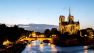 HD Timelapse: Day to Night Notre Dame Cathedral Paris, France - Stock Video