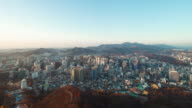 4K Time-lapse Day to night Seoul city from Namsan tower,South Korea
