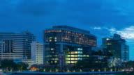4 K Timelapse dag naar nacht: Siriraj ziekenhuis gebouw van Bangkok stad.