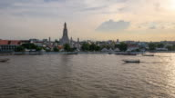 4K Time-lapse day to night Wat Arun temple,Bangkok Thailand travel destination