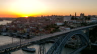 HD Timelapse: Dom Luiz bridge Porto Cityscape Portugal sunset