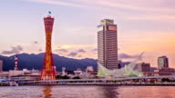 HD Time-lapse : Dusk to Night Kobe Tower Pier, Japan.