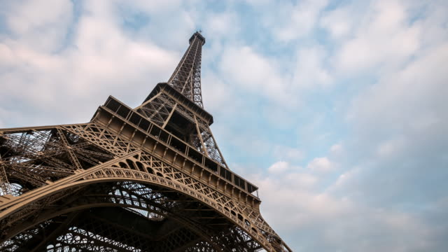 Timelapse: Eiffel Tower Paris with cloudscape evening, France