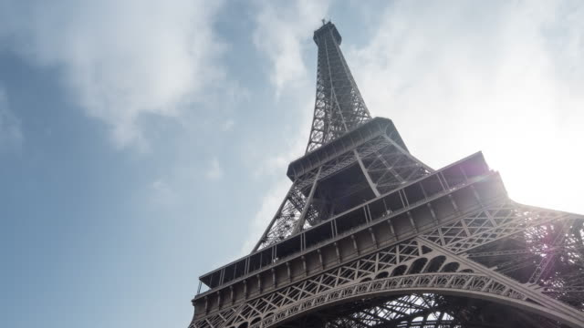 Timelapse: Eiffel Tower Paris with sunlight and cloudscape, France
