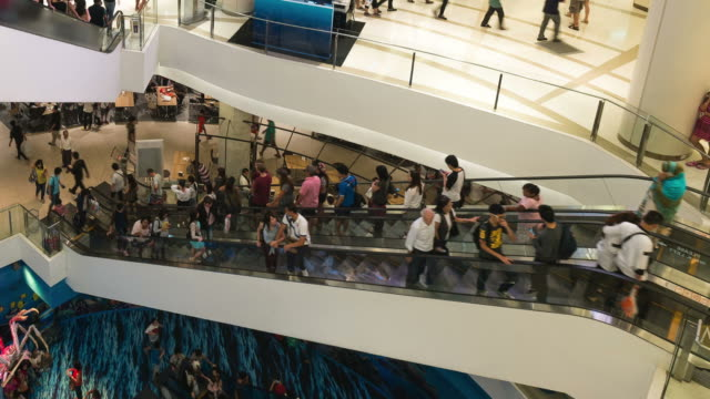 HD Time-lapse: Escalators in Bangkok Thailand Shopping Mall