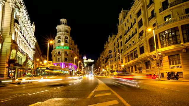 HD Timelapse: Gran Via Madrid Spain at dusk