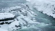HD Time-lapse: Gulfoss Golden Falls waterfall Iceland in winter