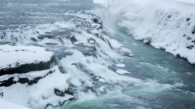HD-Zeitraffer: Gulfoss Golden Falls Wasserfall in Island im winter