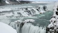 HD-Zeitraffer: Gulfoss Golden Falls Wasserfall in Island im winter