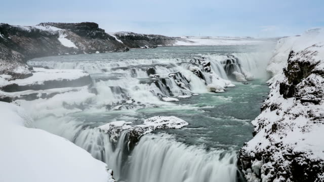HD Time-lapse: Gulfoss Golden Falls waterfall Iceland in winter