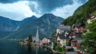 4K Time-lapse: Hallstatt Village Cityscape lake Austria at dusk