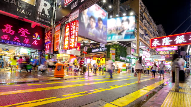 Time-lapse HD: Pedestrians at Mong Kok Shopping Street Hong Kong