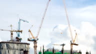 Timelapse HD:Construction Site with Crane Working