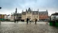 HD time-lapse: Historic Building at Market square Bruges Belgium