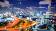 Time-lapse Hyperlapse panning: Bangkok Downtown Skyline and highway