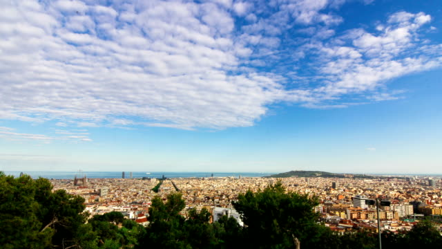Timelapse in City of Barcelona from above on a sunny summer day in Full HD quality