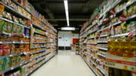 time-lapse in supermarket