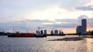 HD Timelapse Industry ship transfer in sunset
