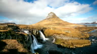 HD Time-lapse: Kirkjufell Mountain Snaefellsnes Peninsula, waterfall landscape Iceland