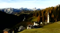 Timelapse La Valle commune in Dolomites alps, Italy