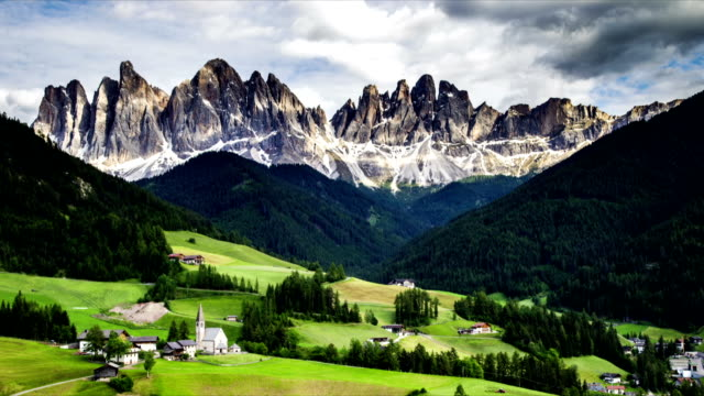 Time-lapse landscape of dolomites mountain