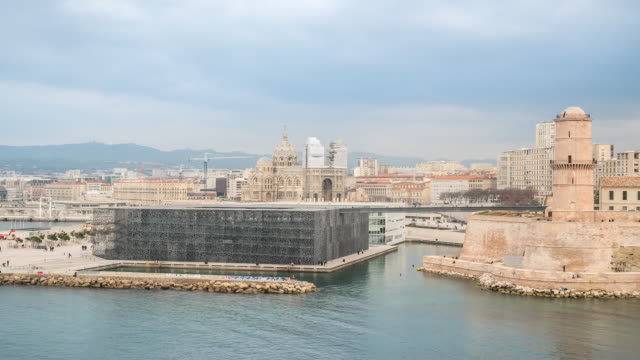 Time-lapse: Marseille city Vieux Port and Cathedrals La Major