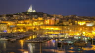 4K Time-lapse: Marseille city with old Vieux Port night
