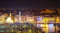 Time-lapse: Marseille city with old Vieux Port night
