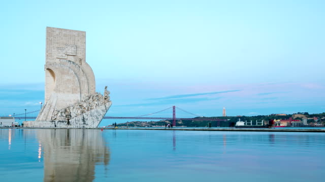 HD Time-lapse: monument to the discoveries Lisbon Portugal