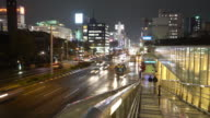 Time-lapse: Nagoya cityscape and Pedestrians at Sakae sunset Japan