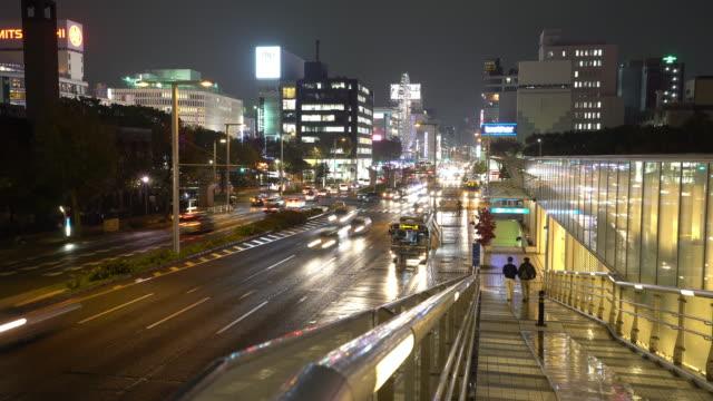 Time-lapse: Nagoya cityscape and Pedestrians at Sakae sunset Japan