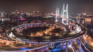 Timelapse Nanpu Bridge at Night / Shanghai, China
