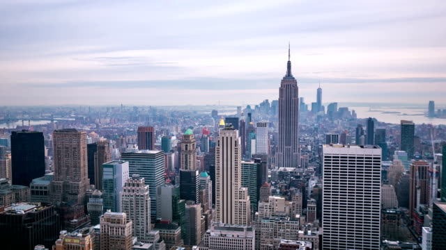 HD Time-lapse: New York City Skyline aerial view