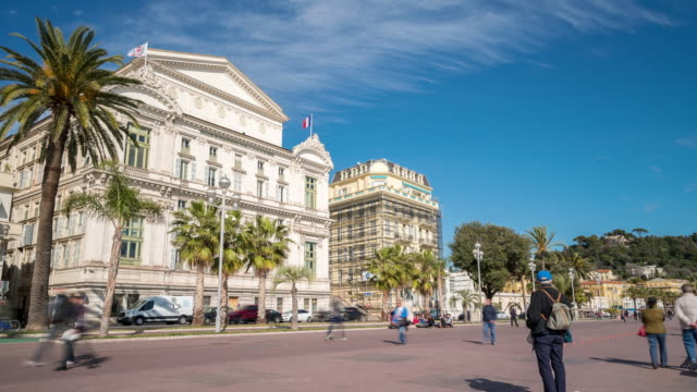 Time-lapse: Operahuset i Nice längs stranden franska Rivieran Frankrike