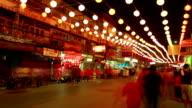 HD time-lapse: Night crowd Pedestrian in Nakronsawan China Town