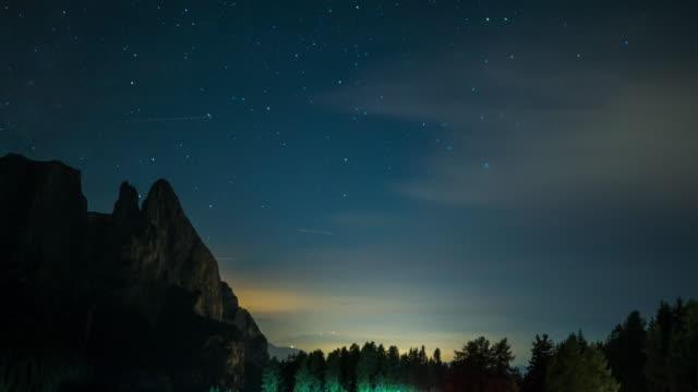 Timelapse night mountain sky