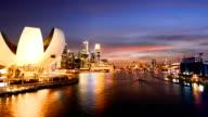 Timelapse Night view in Singapore Marina bay.