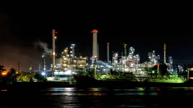 HD Timelapse : Night view refinery with river reflection