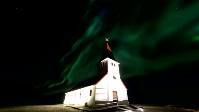 HD Time-lapse: Northern Light Aurora Borealis at VIK Southern Iceland