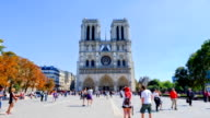 HD Timelapse: Notre Dame Cathedral at dusk in Paris, France - Stock Video
