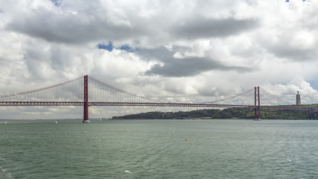 Timelapse of 25th of April Bridge over the Tagus river. Lisbon, Portugal. April, 2017