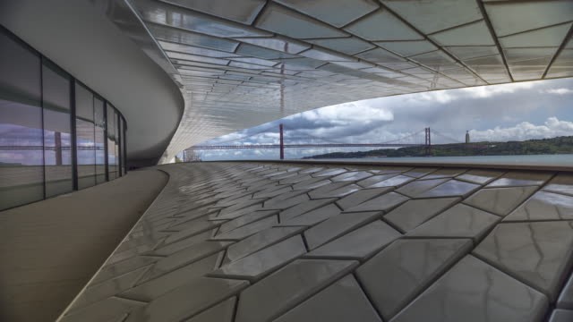 Timelapse of 25th of April Bridge over the Tagus river. View from MAAT museum of Lisbon, Portugal. April, 2017