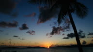 Time-Lapse of a Beautiful Caribbean Sunset with Palm Trees
