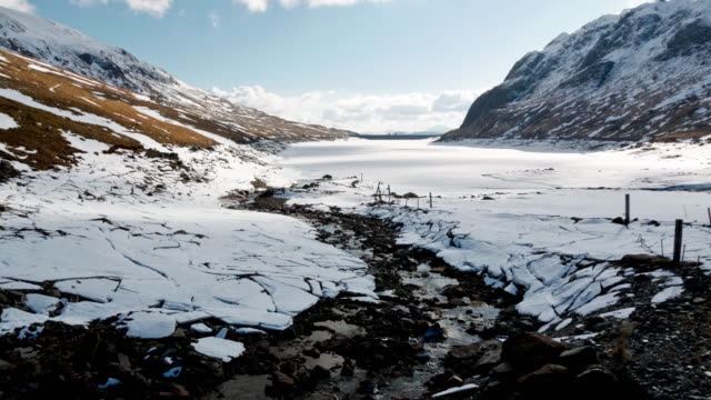 Time-lapse of a frozen hydroelectric dam stream and lake in Scotland with the cloud and sun-rise reflecting off the snow and ice whilst the shadow of the mountain passes