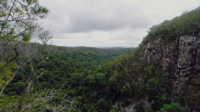 Time-lapse of a landscape, in a cloudy and rainy day, at the hinterland of Byron Bay region, Australia