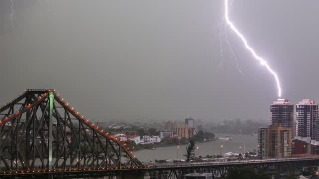 Timelapse of a superstorm at sunset in Brisbane with views of part of story bridge and the city in 4K